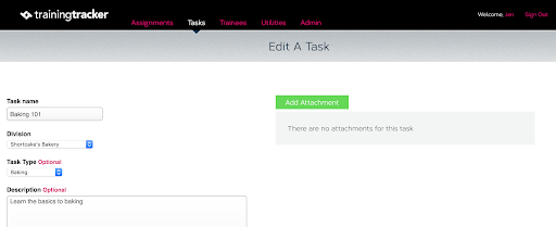 view the edit task attachment