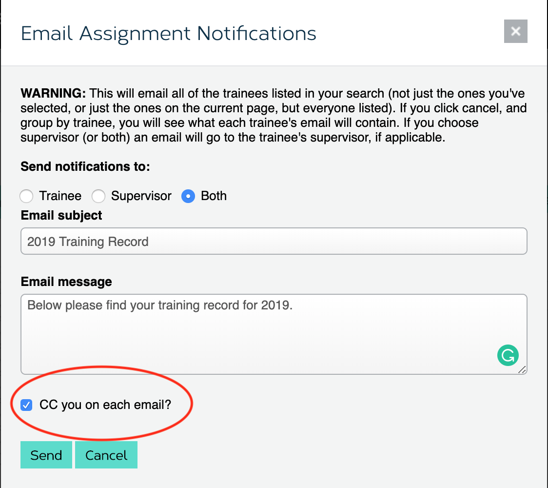 show cc checkbox on email form